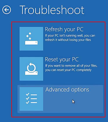 """Troubleshoot"" ekraan"