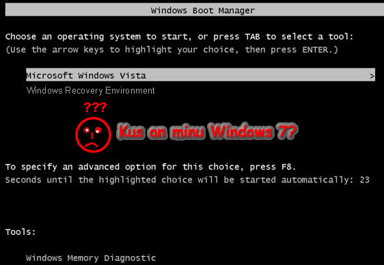 how to start dual boot xp vin 7